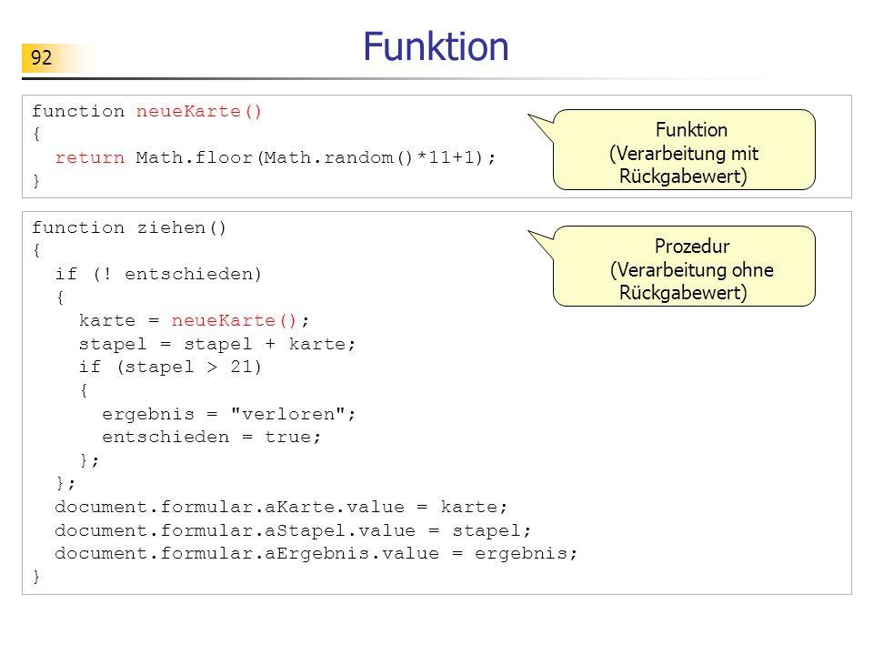 Funktion function neueKarte() {