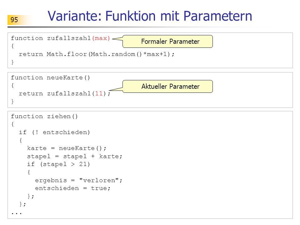 Variante: Funktion mit Parametern