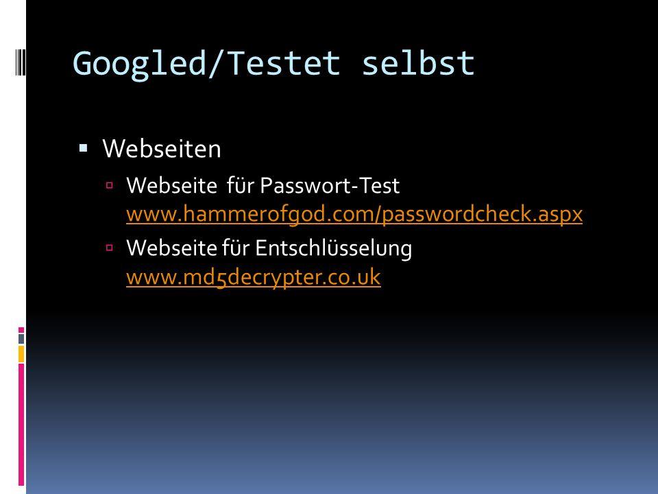 Googled/Testet selbst