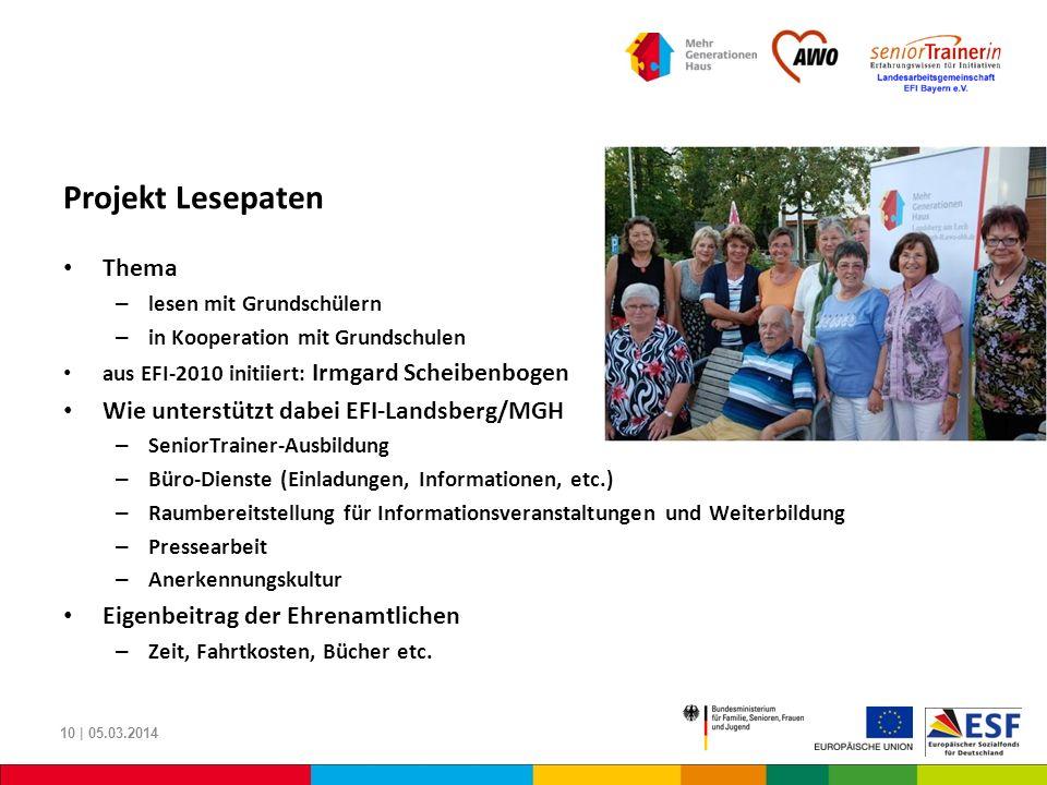 Projekt Lesepaten Thema Wie unterstützt dabei EFI-Landsberg/MGH