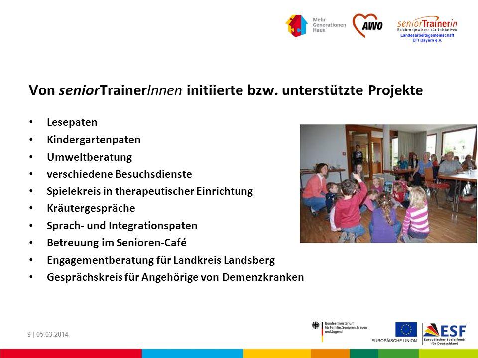 Von seniorTrainerInnen initiierte bzw. unterstützte Projekte