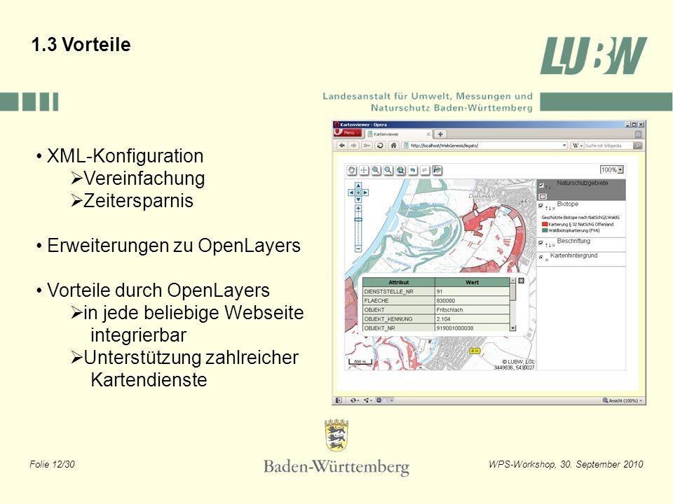 1.3 Vorteile XML-Konfiguration. Vereinfachung. Zeitersparnis. Erweiterungen zu OpenLayers. Vorteile durch OpenLayers.
