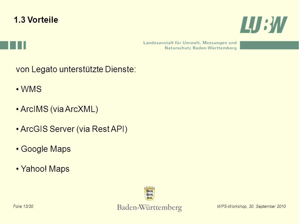 1.3 Vorteile von Legato unterstützte Dienste: WMS. ArcIMS (via ArcXML) ArcGIS Server (via Rest API)