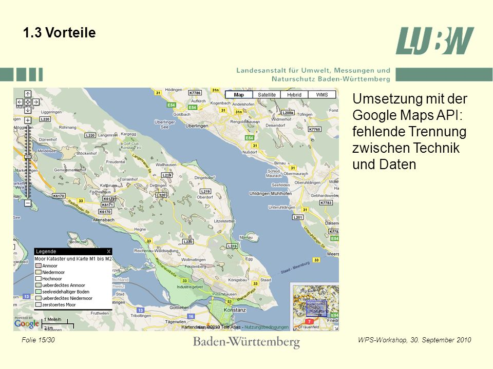1.3 Vorteile Umsetzung mit der Google Maps API: fehlende Trennung zwischen Technik und Daten