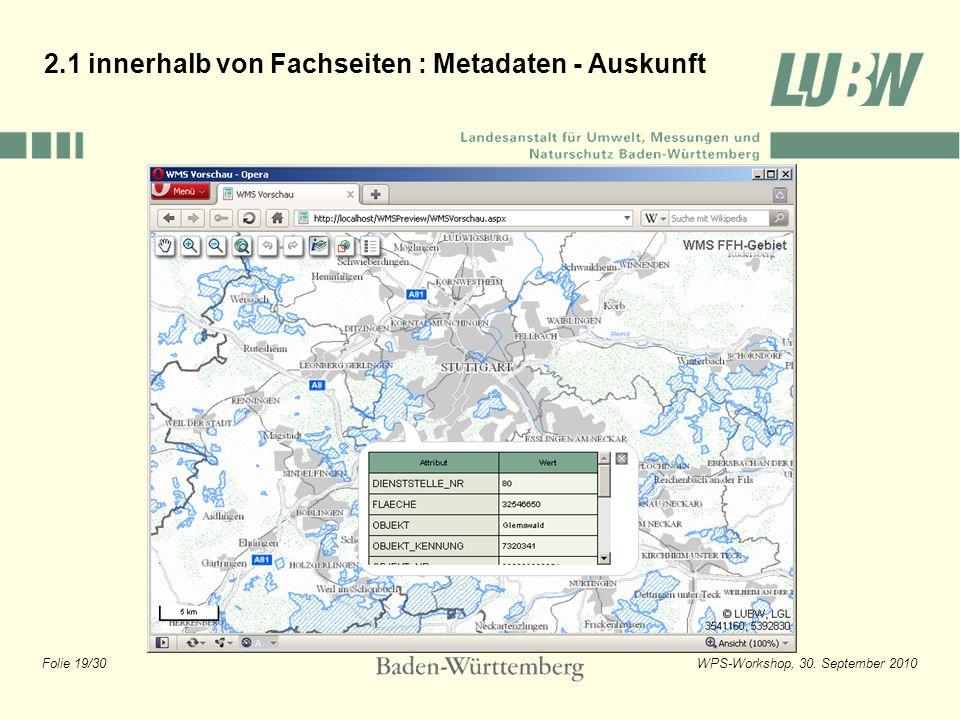 2.1 innerhalb von Fachseiten : Metadaten - Auskunft