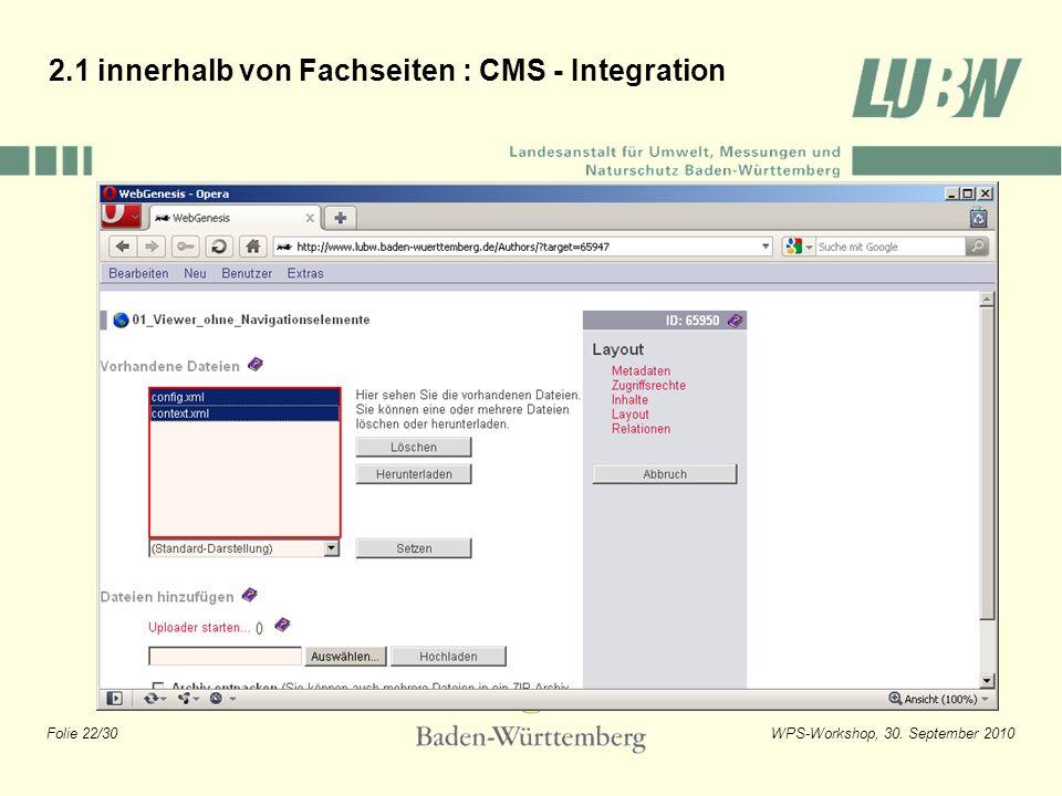 2.1 innerhalb von Fachseiten : CMS - Integration