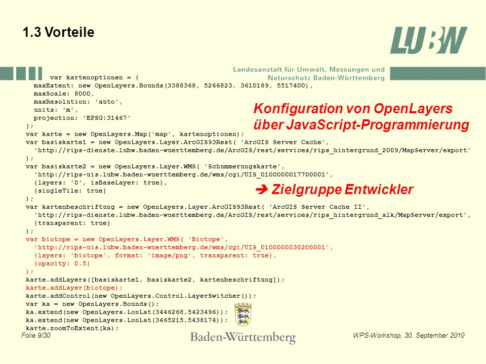 Konfiguration von OpenLayers über JavaScript-Programmierung