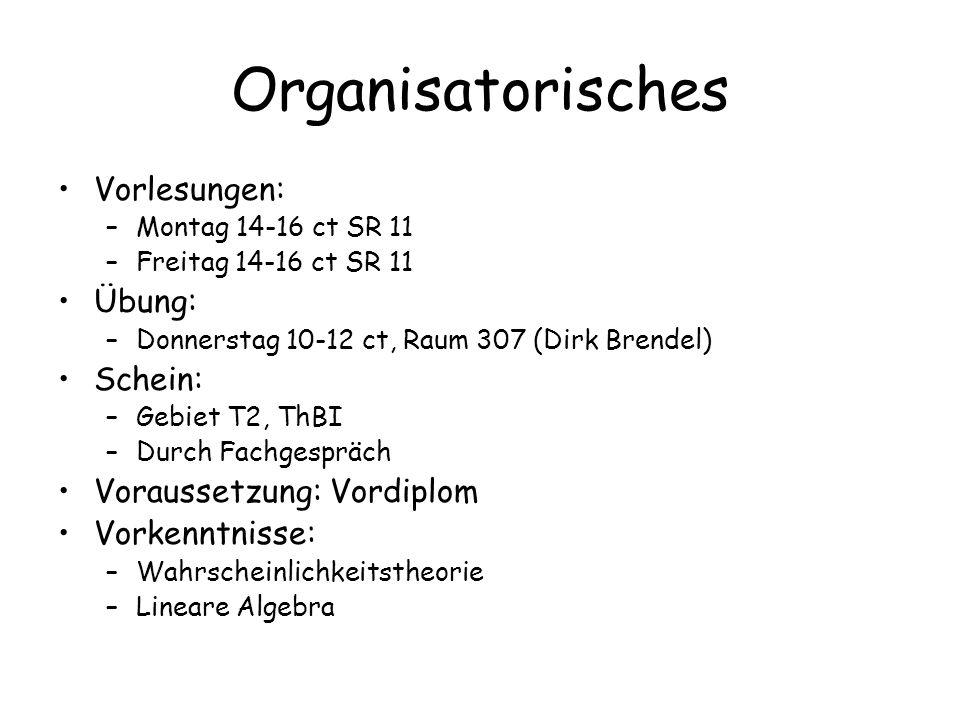 Organisatorisches Vorlesungen: Übung: Schein: Voraussetzung: Vordiplom