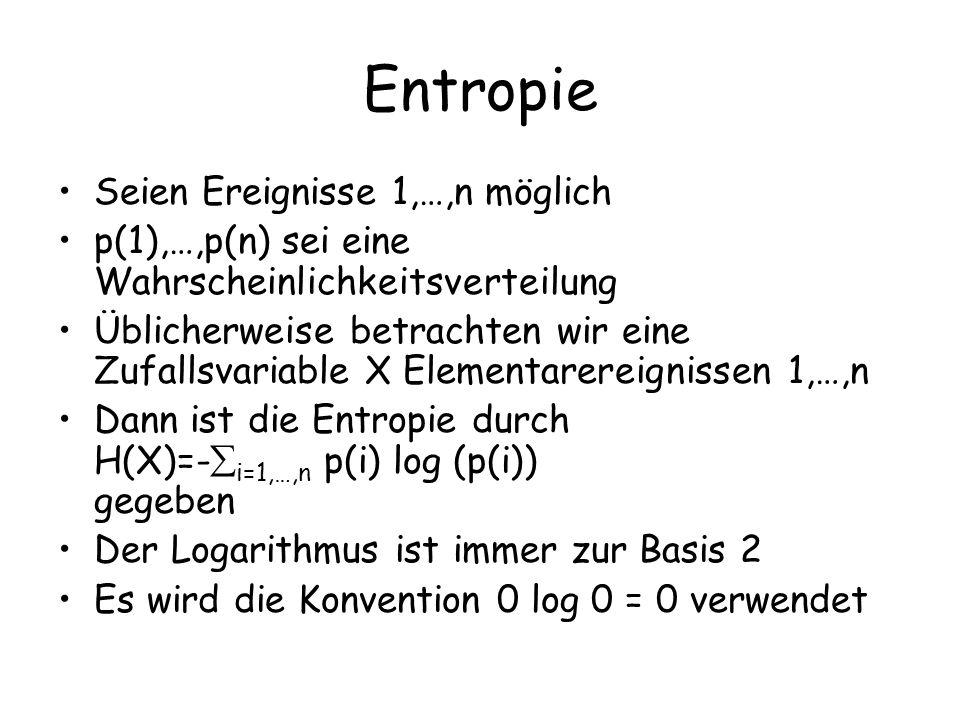 Entropie Seien Ereignisse 1,…,n möglich