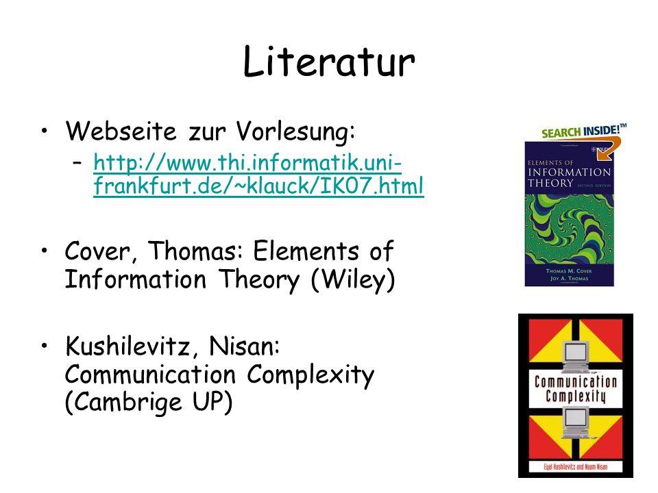 Literatur Webseite zur Vorlesung: