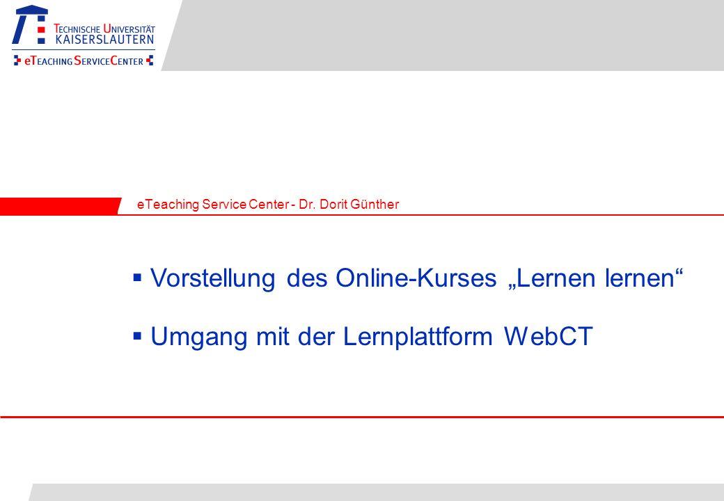 Umgang mit der Lernplattform WebCT