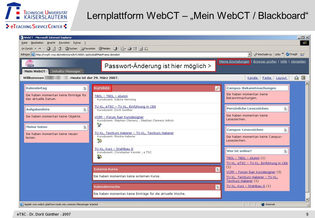 "Lernplattform WebCT – ""Mein WebCT / Blackboard"