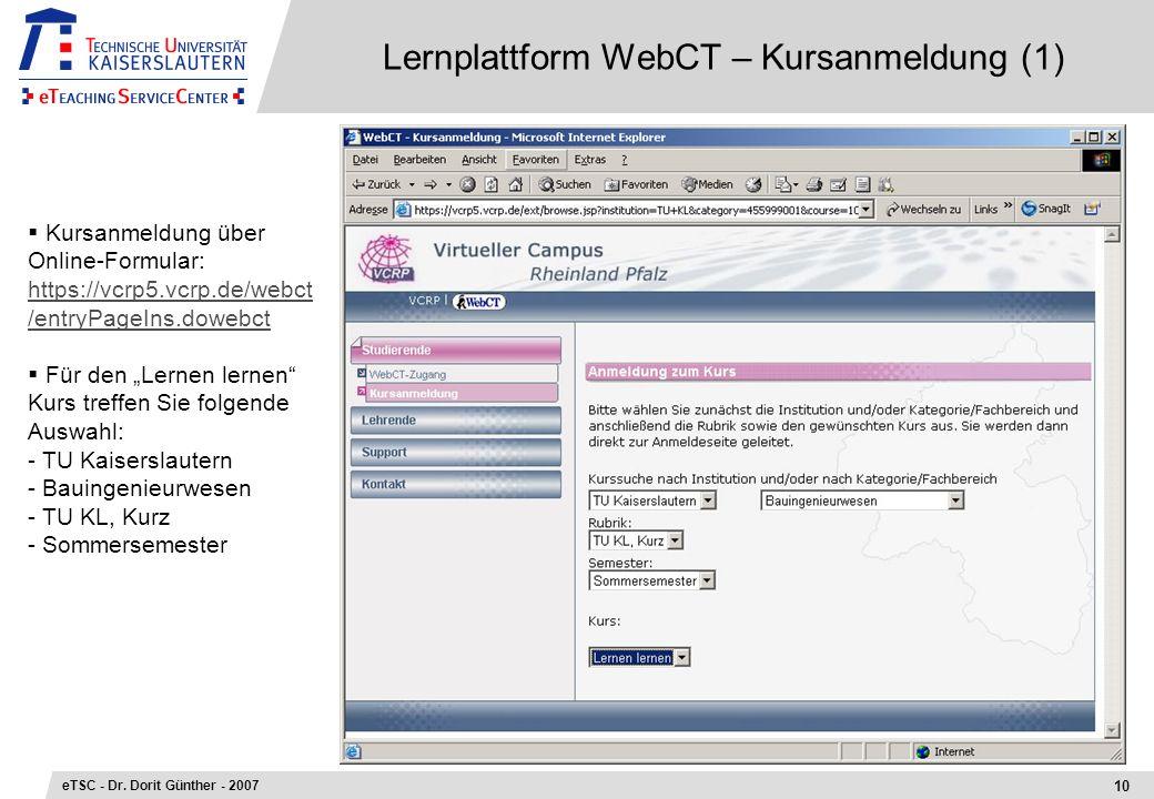 Lernplattform WebCT – Kursanmeldung (1)