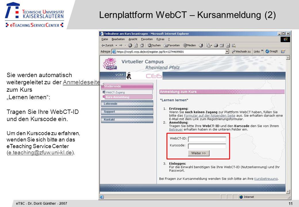 Lernplattform WebCT – Kursanmeldung (2)
