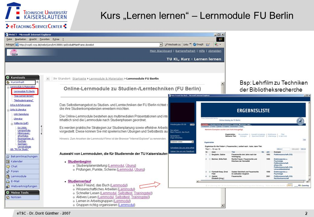 "Kurs ""Lernen lernen – Lernmodule FU Berlin"