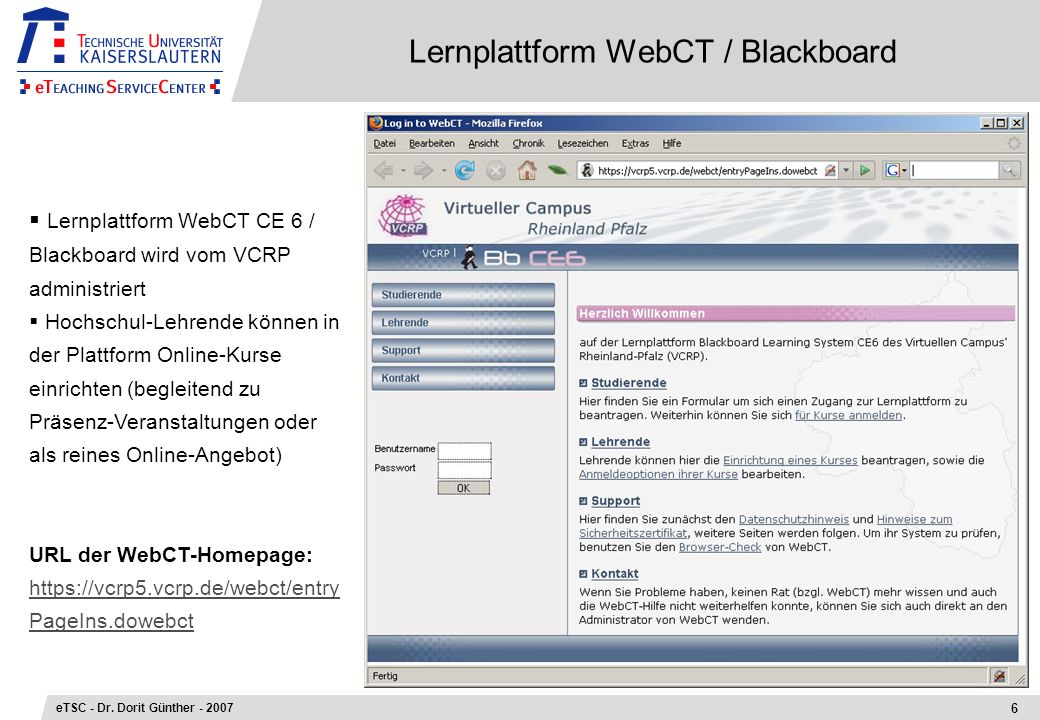 Lernplattform WebCT / Blackboard