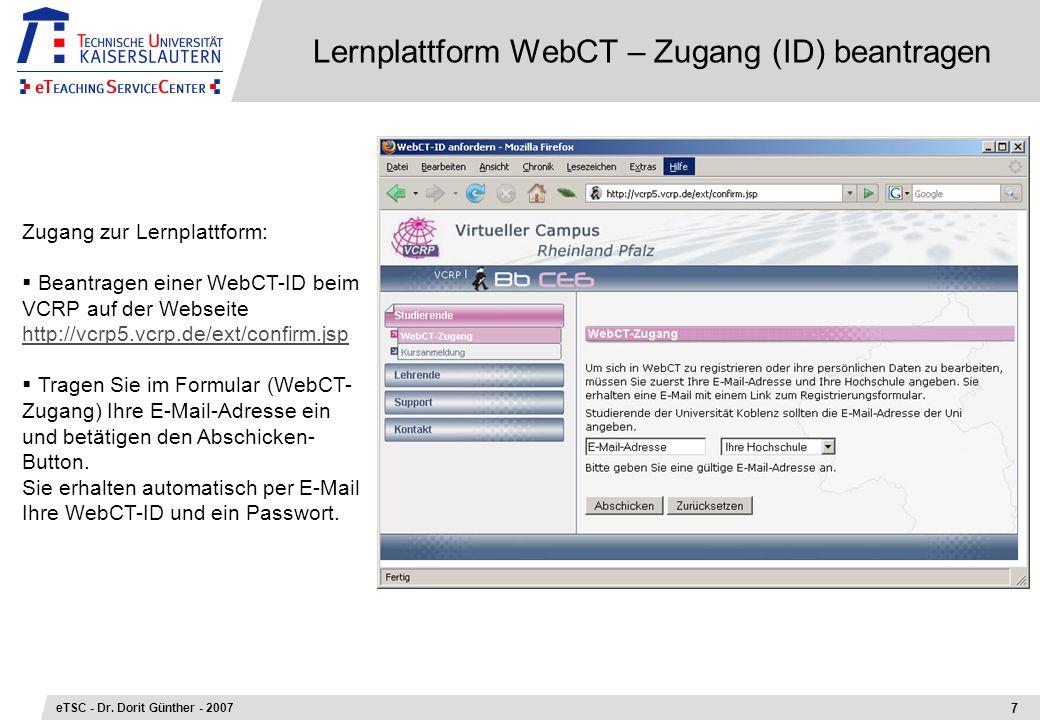 Lernplattform WebCT – Zugang (ID) beantragen