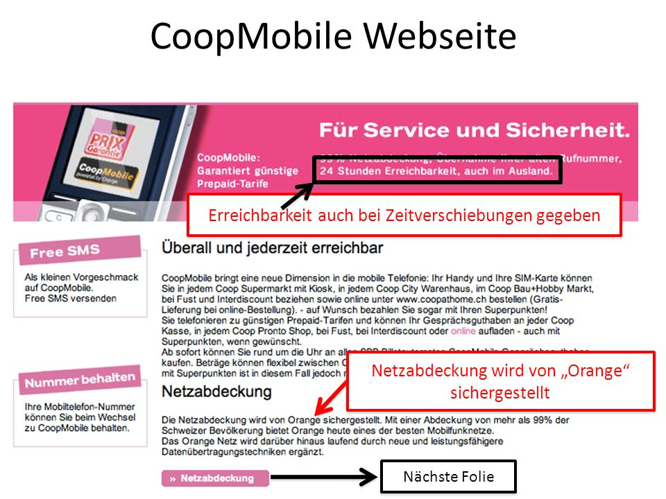 CoopMobile Webseite Erreichbarkeit auch bei Zeitverschiebungen gegeben