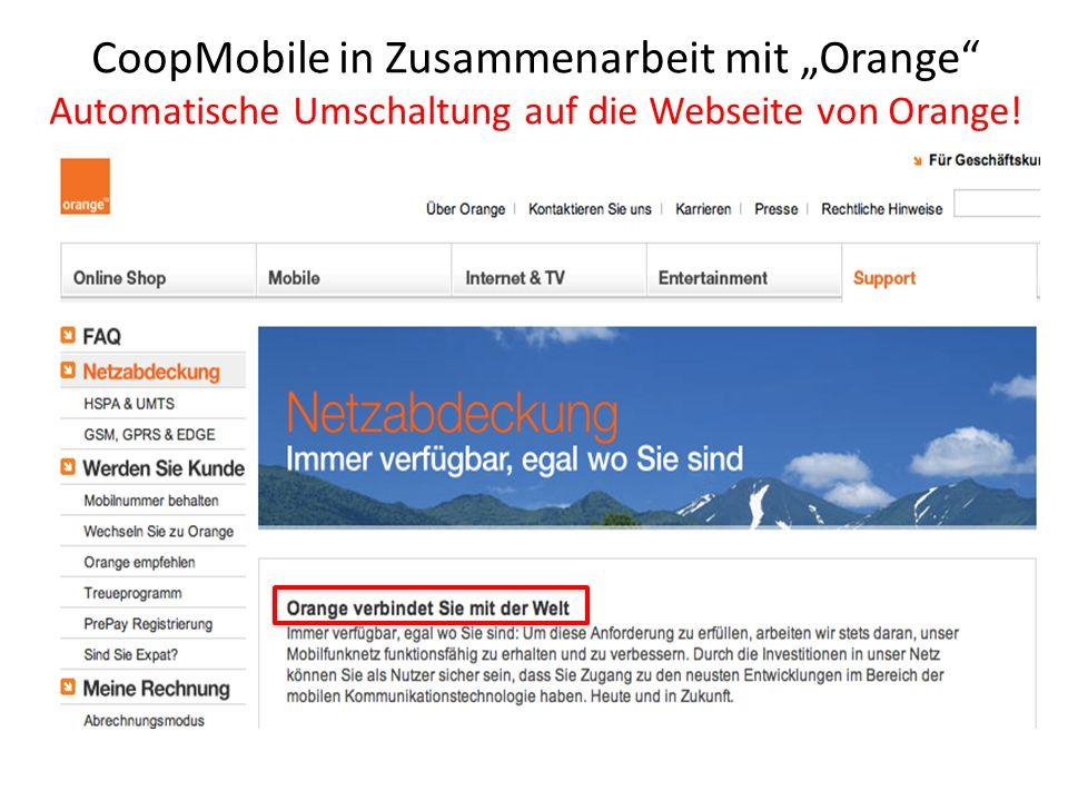 """CoopMobile in Zusammenarbeit mit """"Orange Automatische Umschaltung auf die Webseite von Orange!"""
