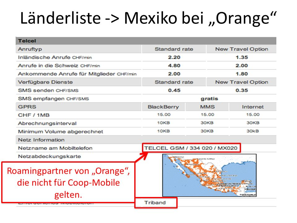 """Länderliste -> Mexiko bei """"Orange"""
