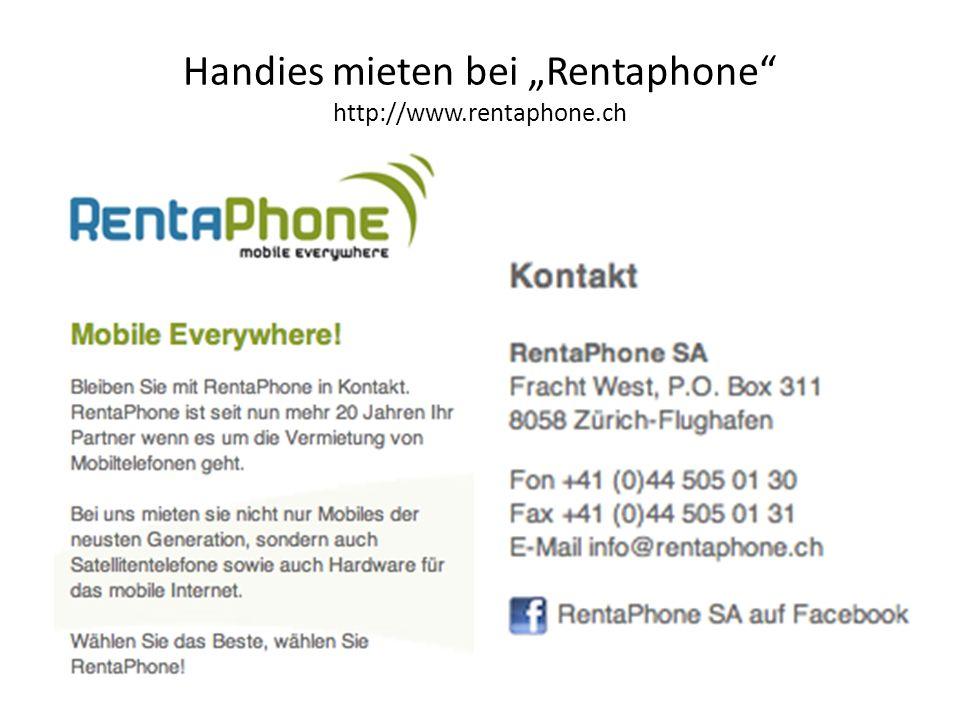 """Handies mieten bei """"Rentaphone http://www.rentaphone.ch"""