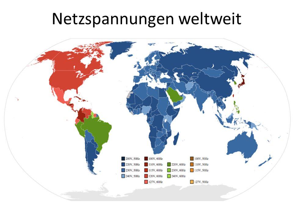 Netzspannungen weltweit