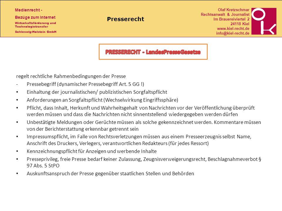 PRESSERECHT - LandesPresseGesetze