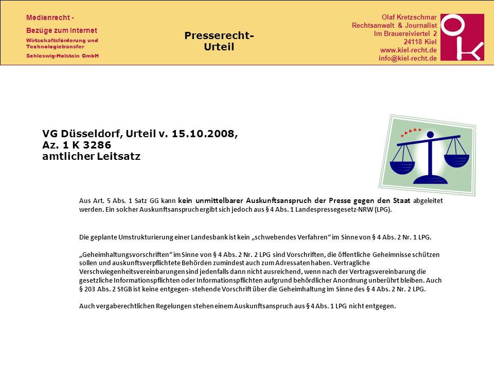 VG Düsseldorf, Urteil v. 15.10.2008, Az. 1 K 3286 amtlicher Leitsatz