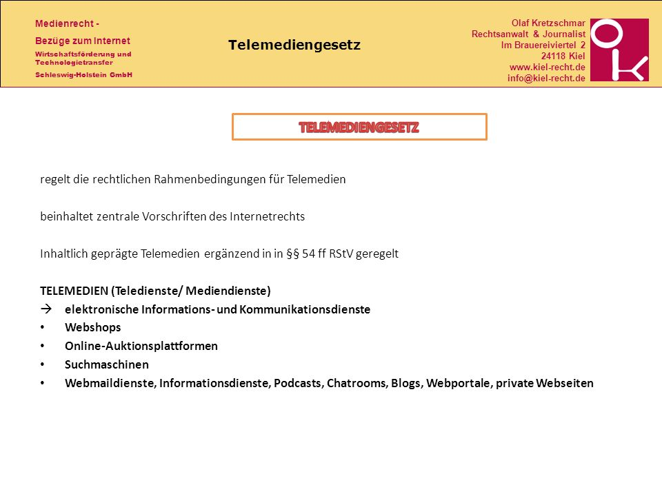 TELEMEDIENGESETZ Telemediengesetz