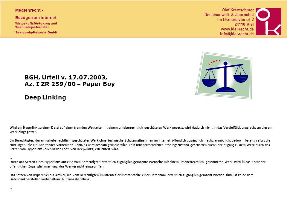 BGH, Urteil v. 17.07.2003, Az. I ZR 259/00 – Paper Boy Deep Linking