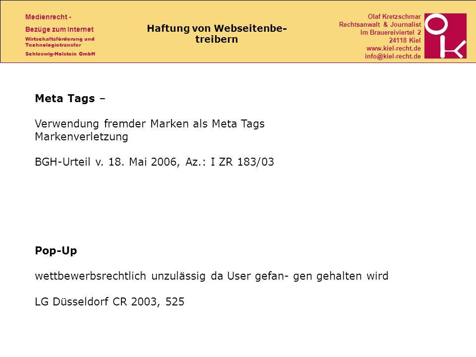 Haftung von Webseitenbe- treibern