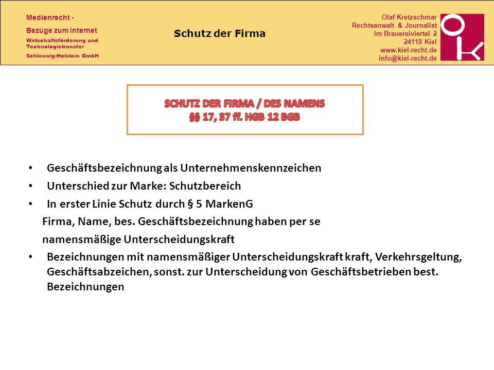 SCHUTZ DER FIRMA / DES NAMENS
