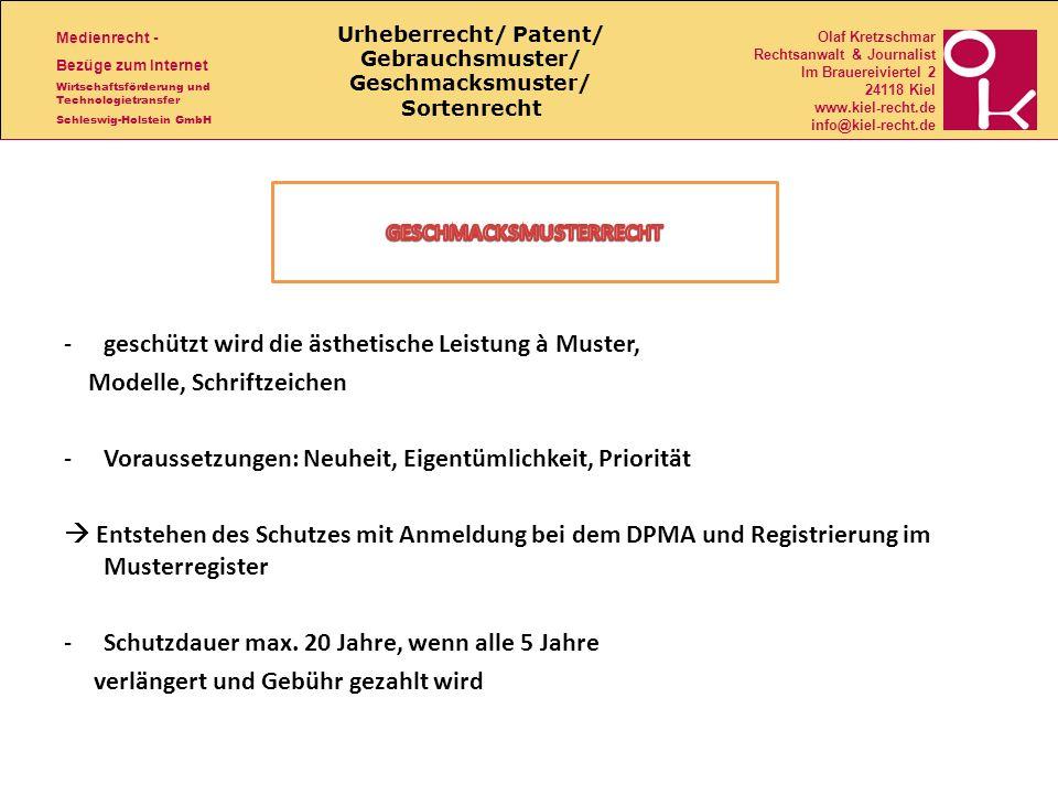 Urheberrecht/ Patent/ Gebrauchsmuster/ Geschmacksmuster/ Sortenrecht
