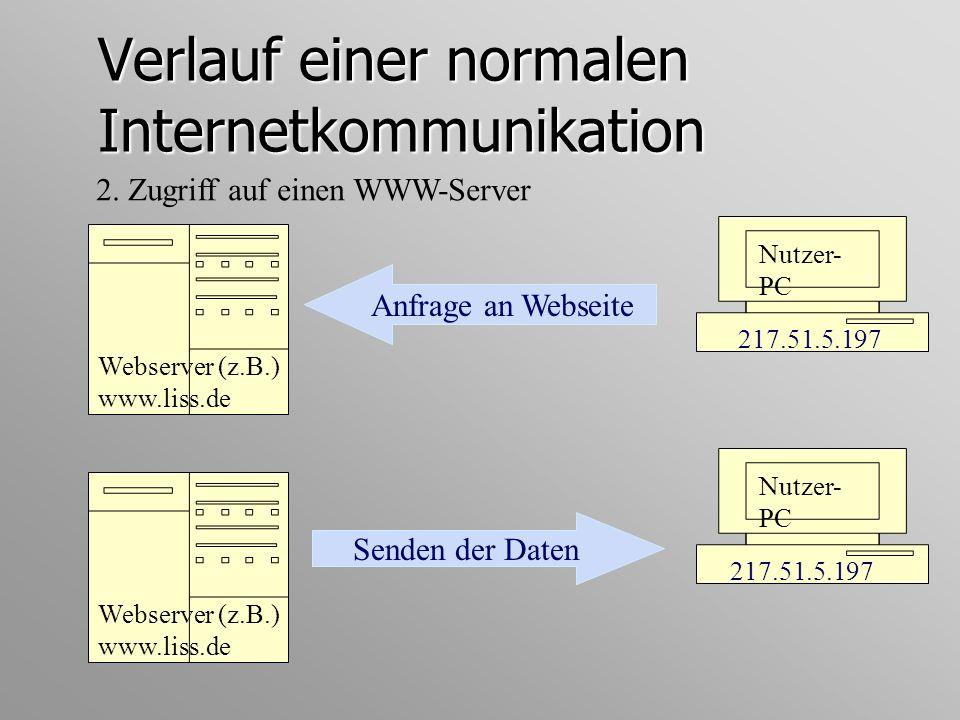 Verlauf einer normalen Internetkommunikation