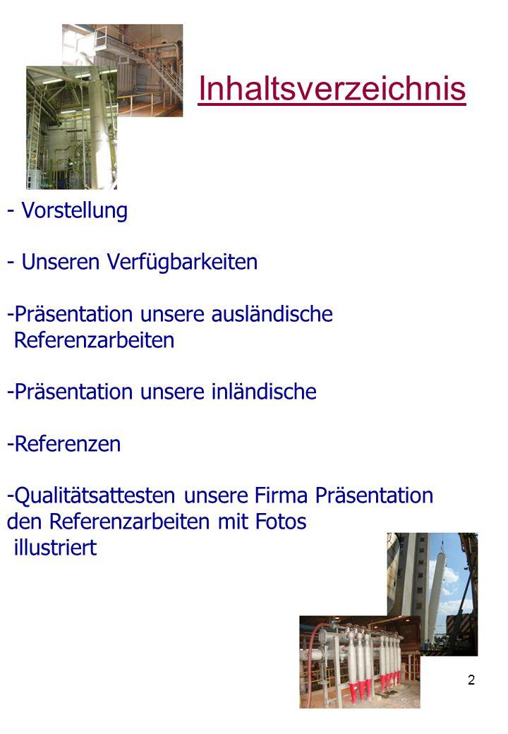 Inhaltsverzeichnis - Vorstellung - Unseren Verfügbarkeiten
