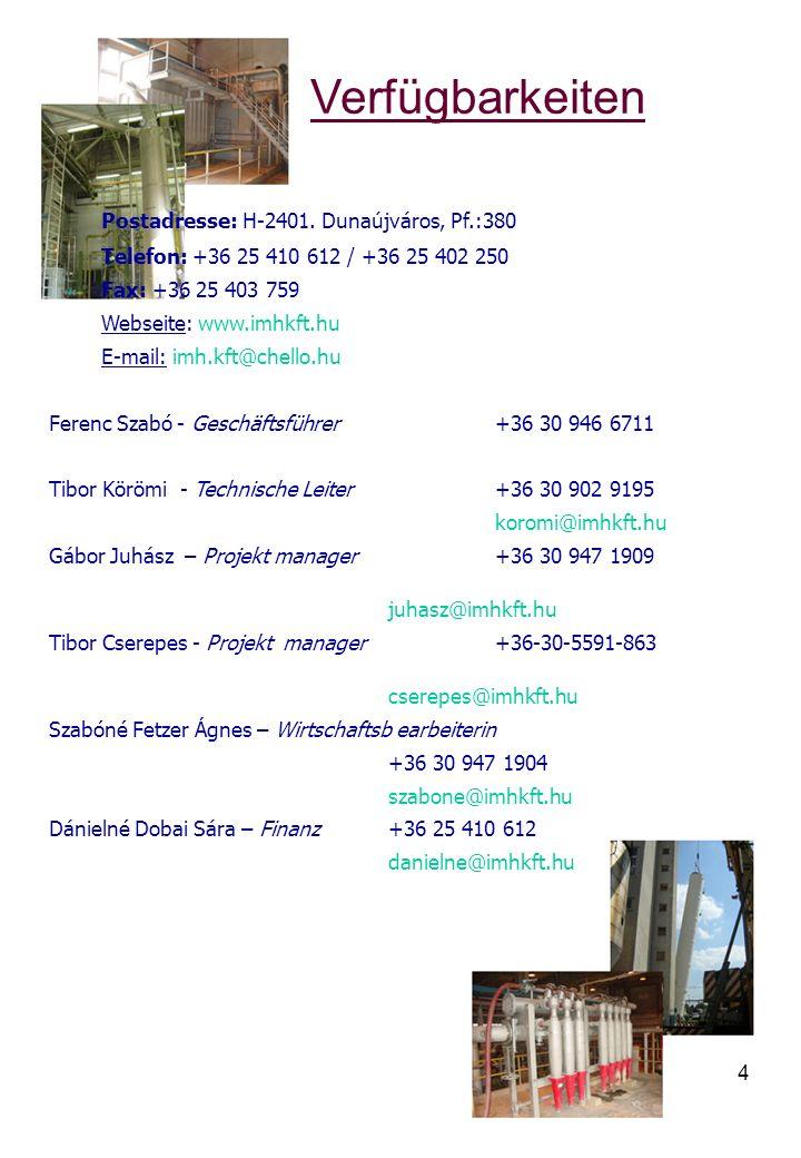 Verfügbarkeiten Postadresse: H-2401. Dunaújváros, Pf.:380