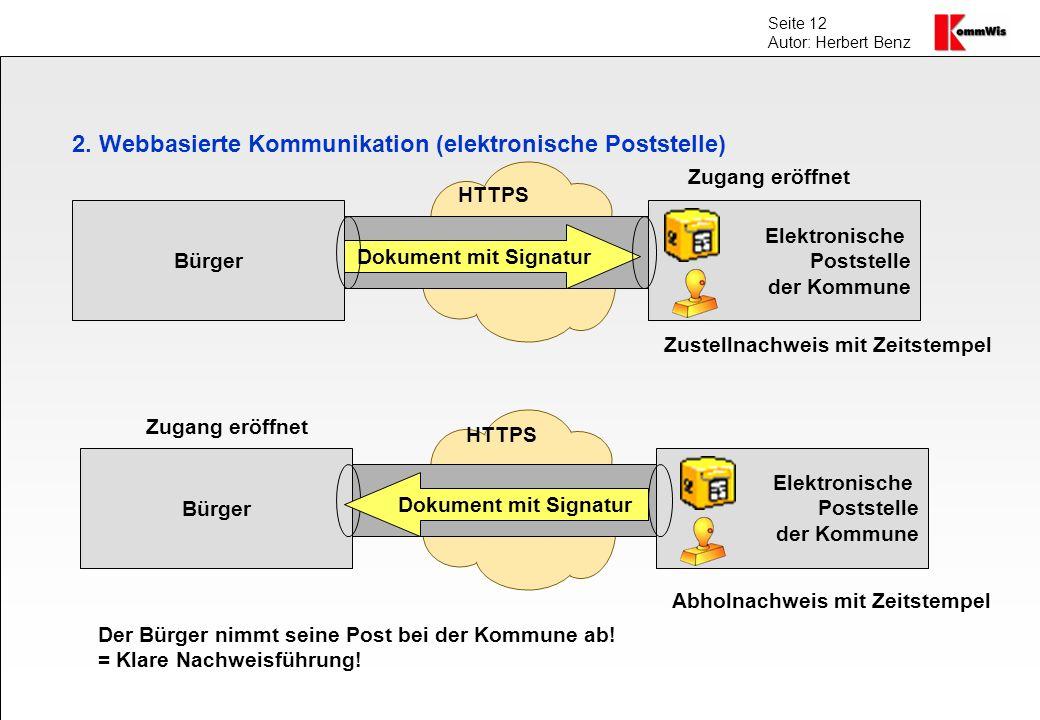 2. Webbasierte Kommunikation (elektronische Poststelle)