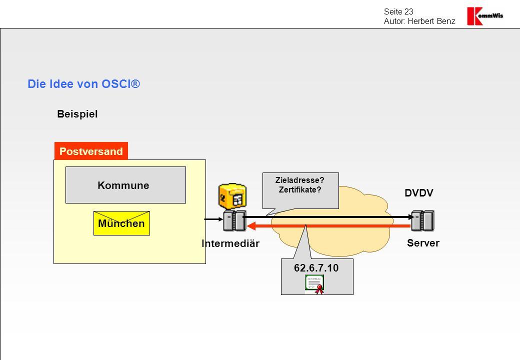 Die Idee von OSCI® Beispiel Postversand Kommune DVDV München