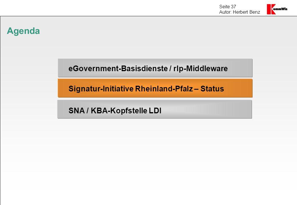 Agenda eGovernment-Basisdienste / rlp-Middleware