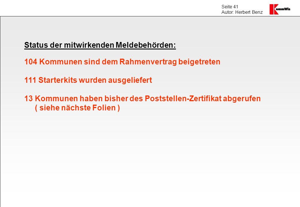 Status der mitwirkenden Meldebehörden: