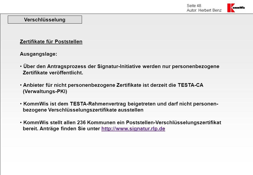 Verschlüsselung Zertifikate für Poststellen. Ausgangslage: Über den Antragsprozess der Signatur-Initiative werden nur personenbezogene.