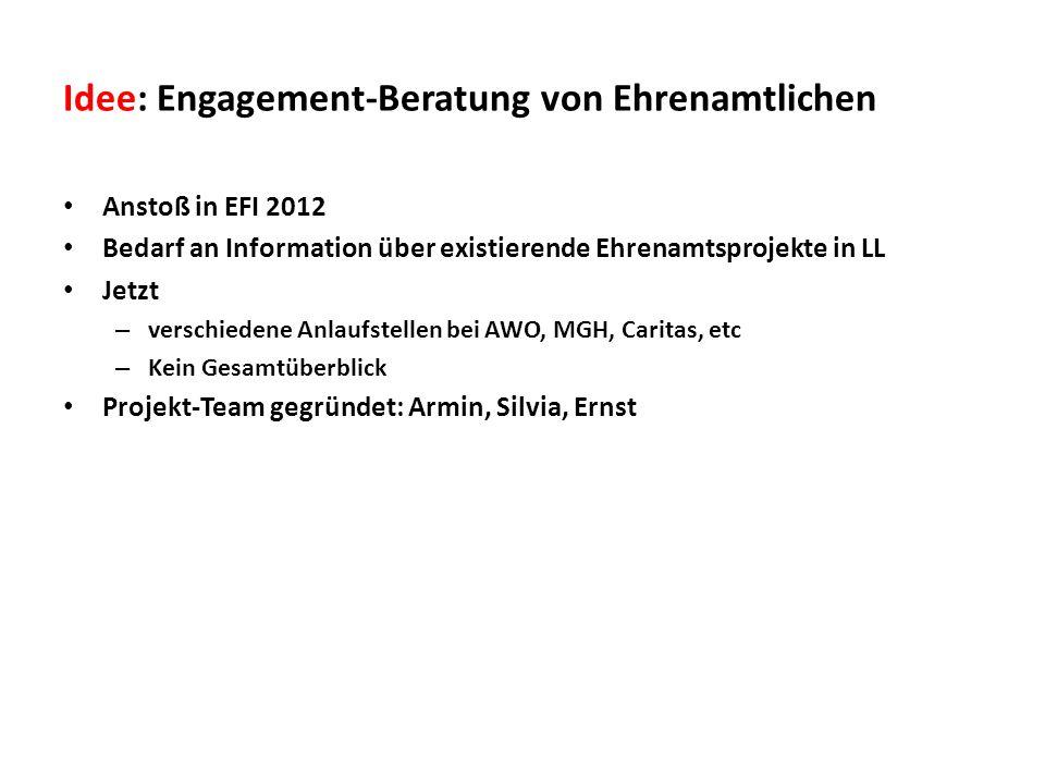 Idee: Engagement-Beratung von Ehrenamtlichen