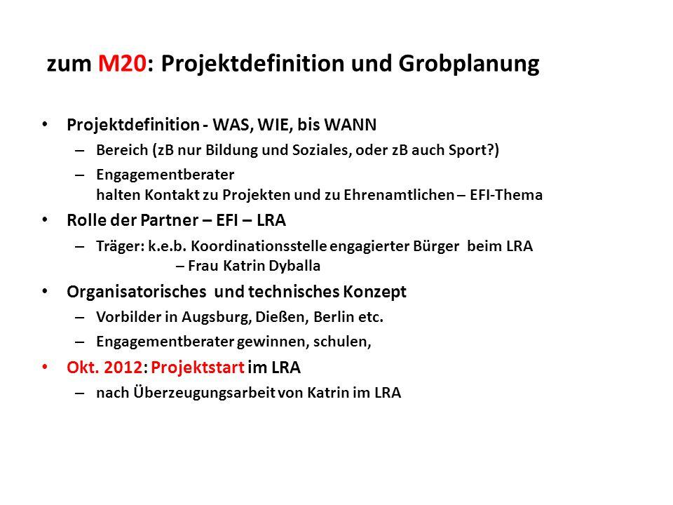 zum M20: Projektdefinition und Grobplanung