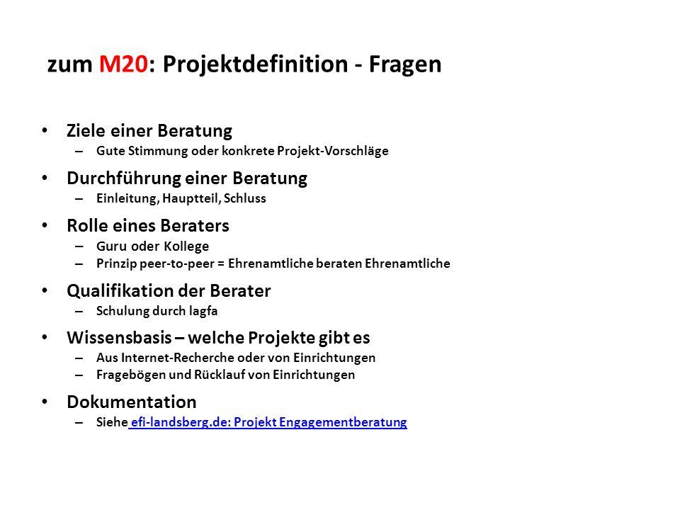 zum M20: Projektdefinition - Fragen