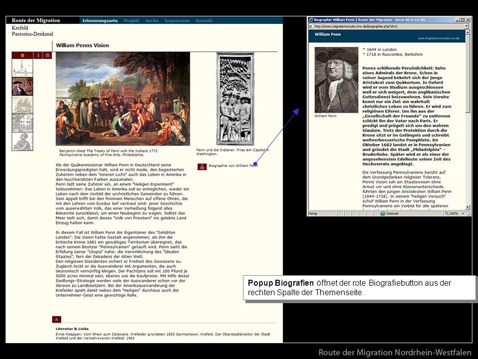 Popup Biografien öffnet der rote Biografiebutton aus der rechten Spalte der Themenseite.