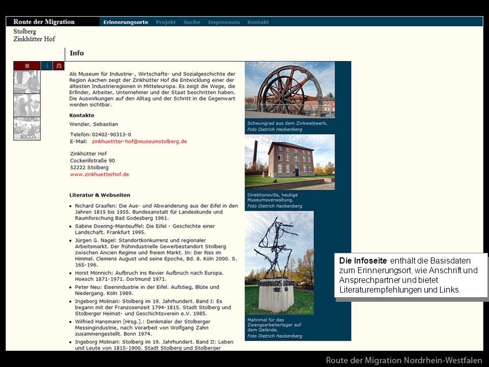 Die Infoseite enthält die Basisdaten zum Erinnerungsort, wie Anschrift und Ansprechpartner und bietet Literaturempfehlungen und Links.