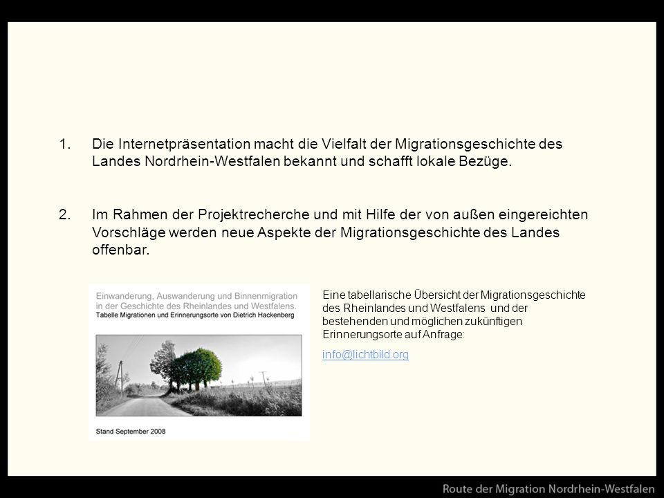 Die Internetpräsentation macht die Vielfalt der Migrationsgeschichte des Landes Nordrhein-Westfalen bekannt und schafft lokale Bezüge.