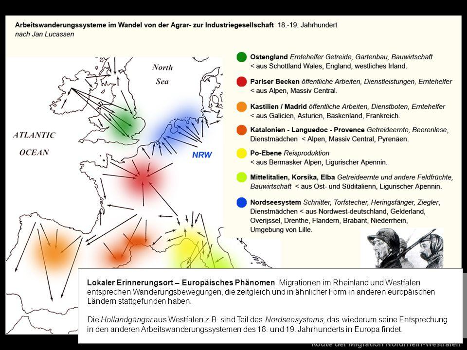 Lokaler Erinnerungsort – Europäisches Phänomen Migrationen im Rheinland und Westfalen entsprechen Wanderungsbewegungen, die zeitgleich und in ähnlicher Form in anderen europäischen Ländern stattgefunden haben.