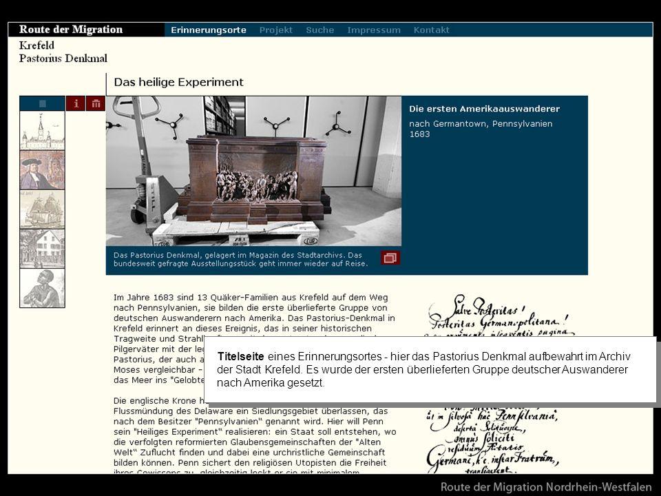 Titelseite eines Erinnerungsortes - hier das Pastorius Denkmal aufbewahrt im Archiv der Stadt Krefeld.