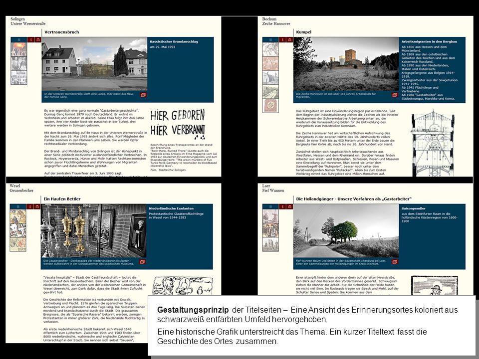 Gestaltungsprinzip der Titelseiten – Eine Ansicht des Erinnerungsortes koloriert aus schwarzweiß entfärbten Umfeld hervorgehoben.